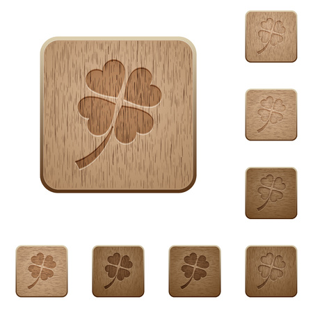 Four leaf clover on rounded square carved wooden button styles