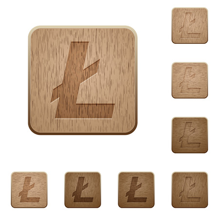 Litecoin digital cryptocurrency on rounded square carved wooden button styles Illustration