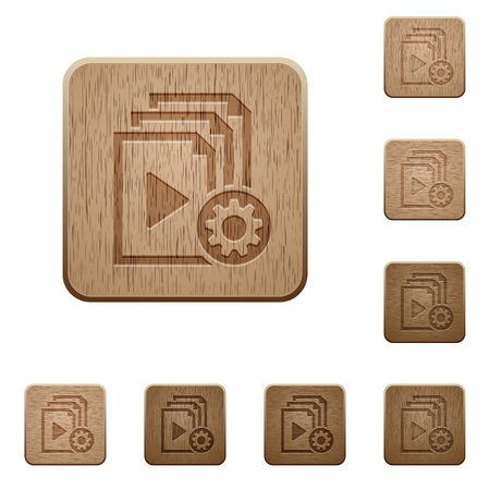 Playlist settings on rounded square carved wooden button styles
