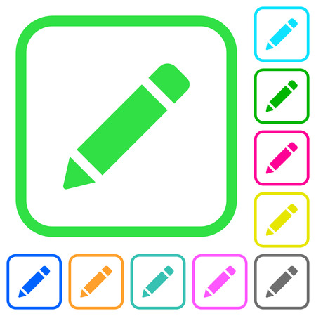 Single pencil with rubber vivid colored flat icons in curved borders on white background Illustration