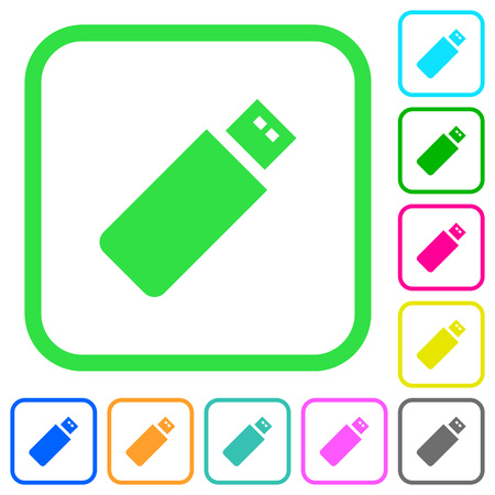 Pendrive vivid colored flat icons in curved borders on white background
