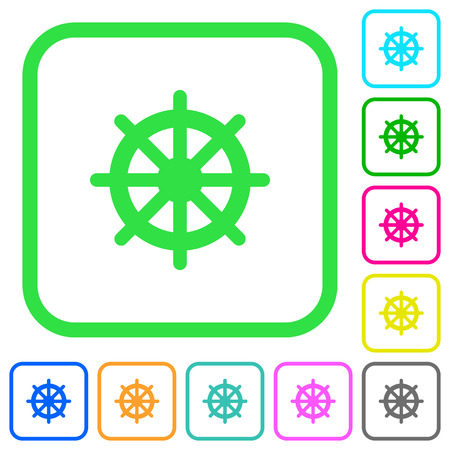 Steering wheel vivid colored flat icons in curved borders on white background Vettoriali