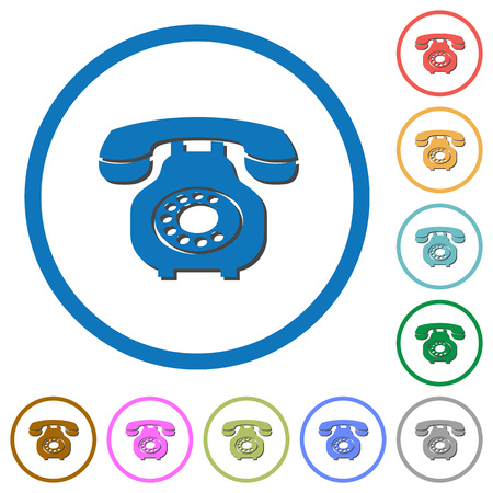 Vintage retro telephone flat color vector icons with shadows in round outlines on white background.