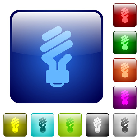 Energy saving fluorescent light bulb icons in rounded square color glossy button set Illustration