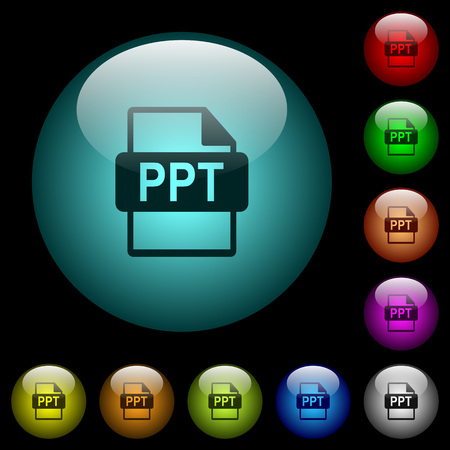 PPT file format icons in color illuminated spherical glass buttons on black background. Can be used to black or dark templates Иллюстрация