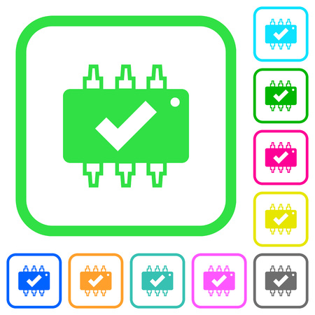 Hardware checked vivid colored flat icons in curved borders on white background Illustration