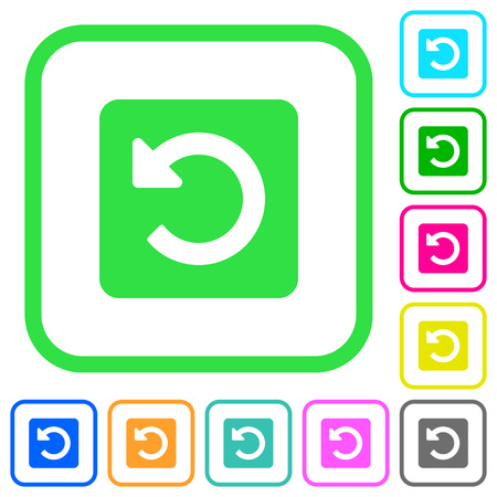 Rotate left vivid colored flat icons in curved borders on white background Иллюстрация