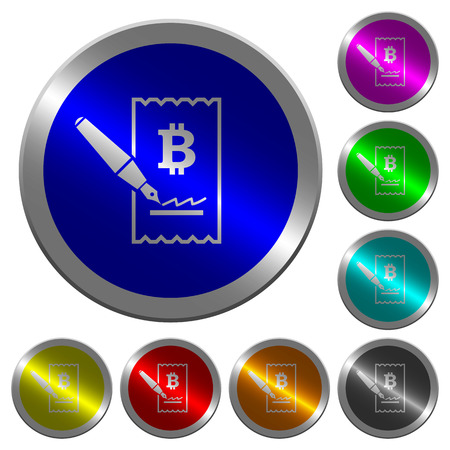 Signing Bitcoin cheque icons on round luminous coin-like color steel buttons Vectores