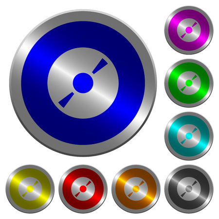 DVD disk icons on round luminous coin-like color steel buttons