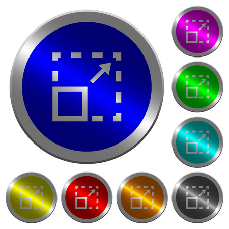 Maximize element icons on round luminous coin-like color steel buttons