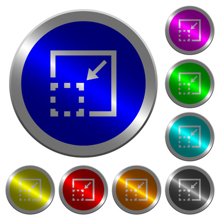 Minimize element icons on round luminous coin-like color steel buttons