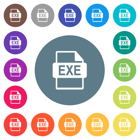 EXE file format flat white icons on round color backgrounds. 17 background color variations are included. Illustration