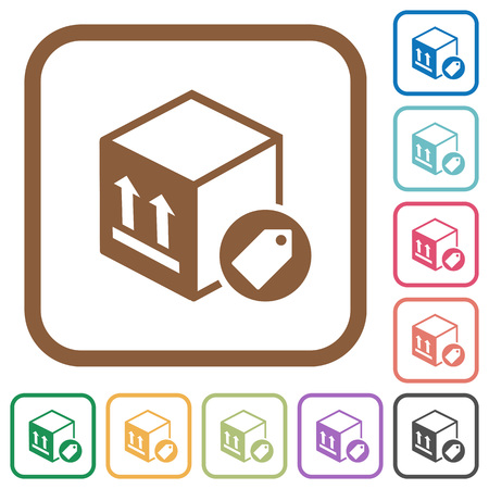 Das Paket, das einfache Ikonen in der Farbe etikettiert, rundete quadratische Rahmen auf weißem Hintergrund