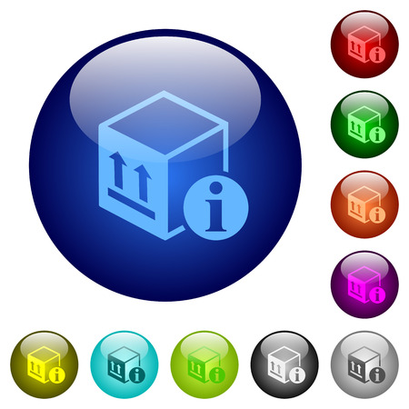 Package information icons on round color glass buttons Illustration