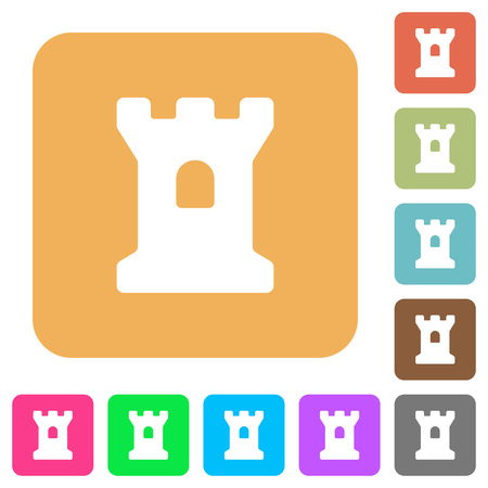 Bastion flat icons on rounded square vivid color backgrounds. Illustration