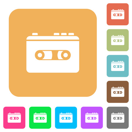 Vintage retro walkman flat icons on rounded square vivid color backgrounds.