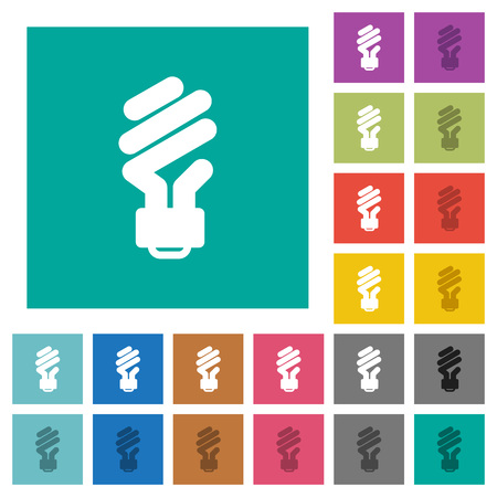 Energy saving fluorescent light bulb multi colored flat icons on plain square backgrounds. Included white and darker icon variations for hover or active effects.