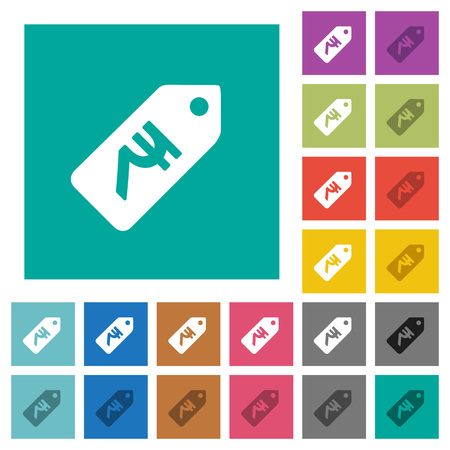 Indian Rupee price label multi colored flat icons on plain square backgrounds. Included white and darker icon variations for hover or active effects. Vettoriali