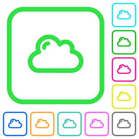 Single cloud vivid colored flat icons in curved borders on white background
