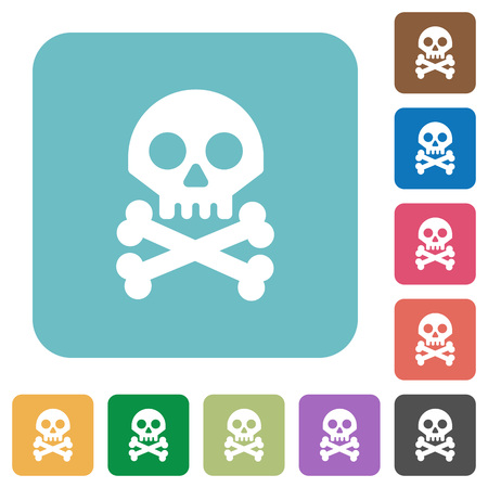 Skull with bones white flat icons on color rounded square backgrounds