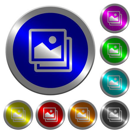 Pictures icons on round luminous coin-like color steel buttons Standard-Bild - 90992546
