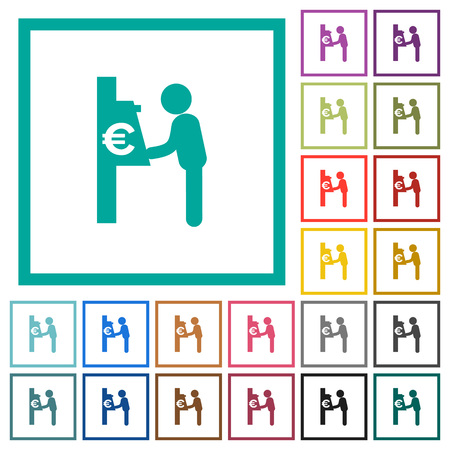 Euro cash machine flat color icons with quadrant frames on white background Иллюстрация