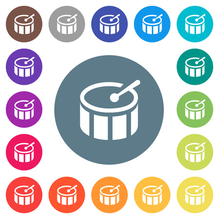 Drum flat white icons on round color backgrounds. 17 background color variations are included.
