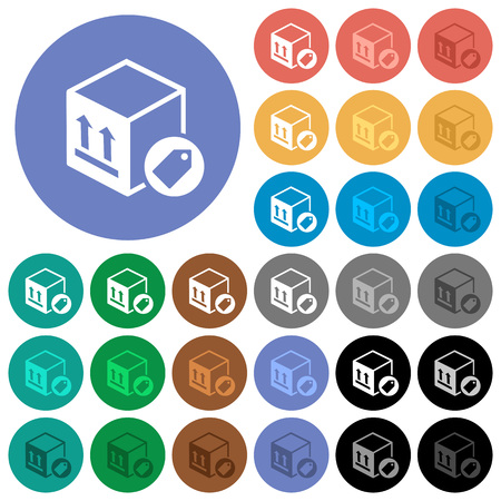 Package labeling multi colored flat icons on round backgrounds. Included white, light and dark icon variations for hover and active status effects, and bonus shades on black backgounds. Illustration