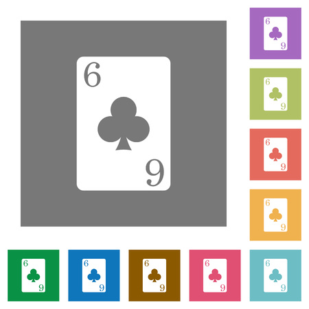 Six of clubs card flat icons on simple color square backgrounds Vettoriali