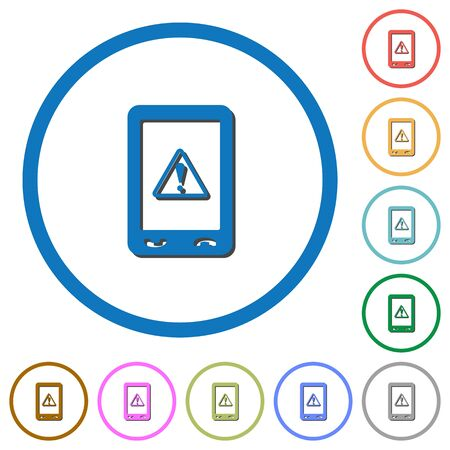 Mobile data traffic flat color vector icons with shadows in round outlines on white background
