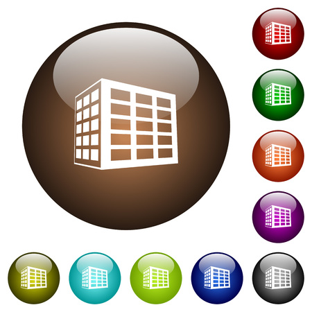 Office block white icons on round color glass buttons