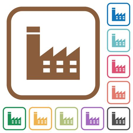 Factory building simple icons in color rounded square frames on white background