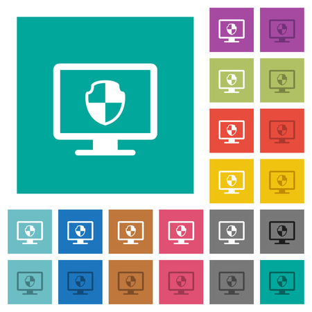 Computer security multi colored flat icons on plain square backgrounds. Included white and darker icon variations for hover or active effects.