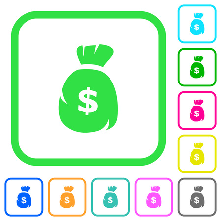 Dollar money bag vivid colored flat icons in curved borders on white background Illustration