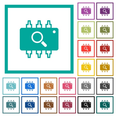 Hardware test flat color icons with quadrant frames on white background