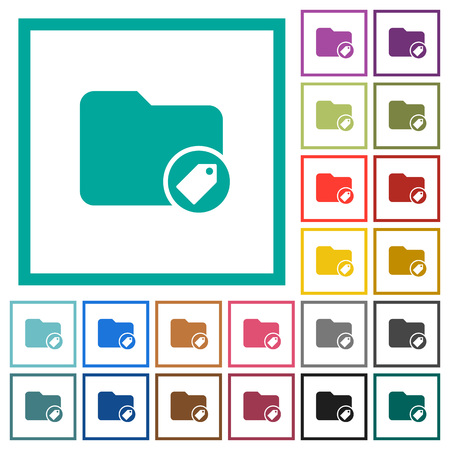 Tagging directory flat color icons with quadrant frames on white background