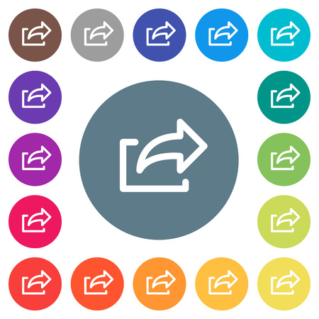 Export symbol flat white icons on round color backgrounds. 17 background color variations are included.