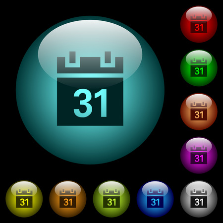 Calendar icons in color illuminated spherical glass buttons on black background. Can be used to black or dark templates