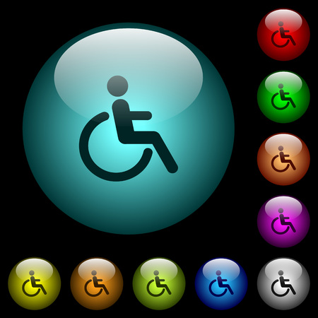 Disability icons in color illuminated spherical glass buttons on black background. Can be used to black or dark templates