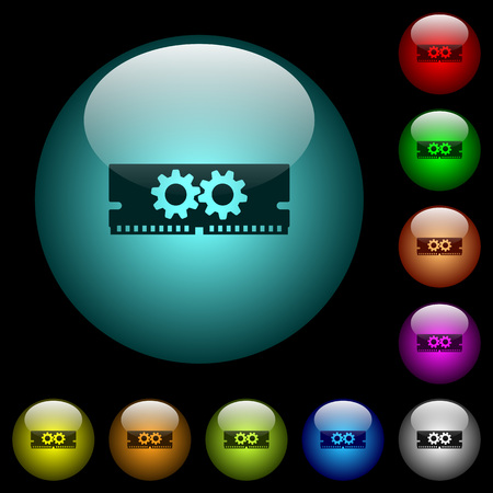 Memory optimization icons in color illuminated spherical glass buttons on black background. Can be used to black or dark templates