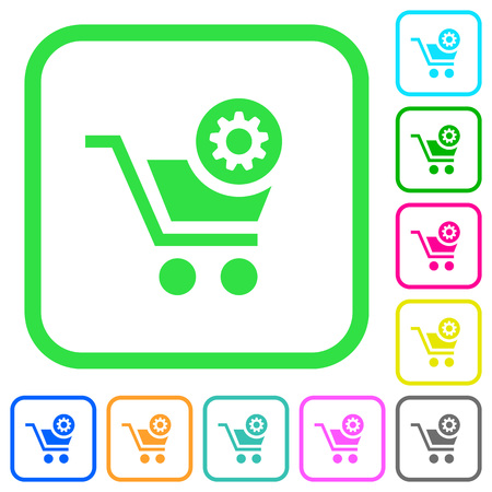 Cart settings vivid colored flat icons in curved borders on white background Illustration