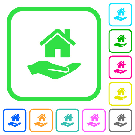 Home insurance vivid colored flat icons in curved borders on white background Illustration
