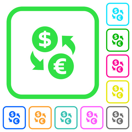 Dollar Euro money exchange vivid colored flat icons in curved borders on white background Illustration