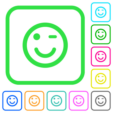 Winking emoticon vivid colored flat icons in curved borders on white background Illustration
