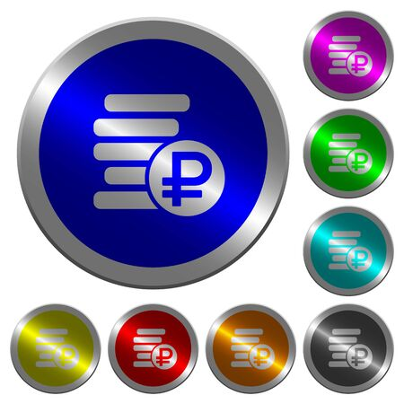 Ruble coins icons on round luminous coin-like color steel buttons