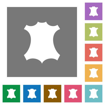 Echte lederen symbool plat pictogrammen op eenvoudige kleur vierkante achtergronden