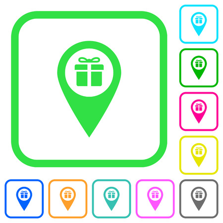 Set of gift shop GPS map location vivid colored flat icons in curved borders on white background