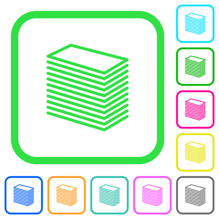 Set of paper stack vivid colored flat icons in curved borders on white background