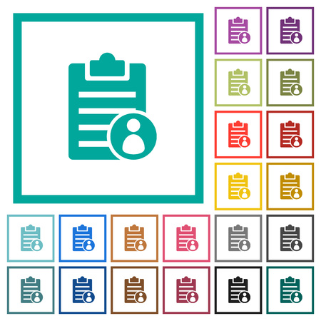Note owner flat color icons with quadrant frames on white background
