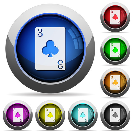 Three of clubs icons in round glossy buttons with steel frames